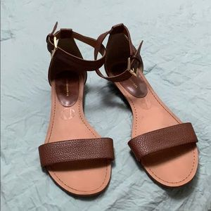 Brown Leather Tommy Hilfiger Ankle-Strap Sandals